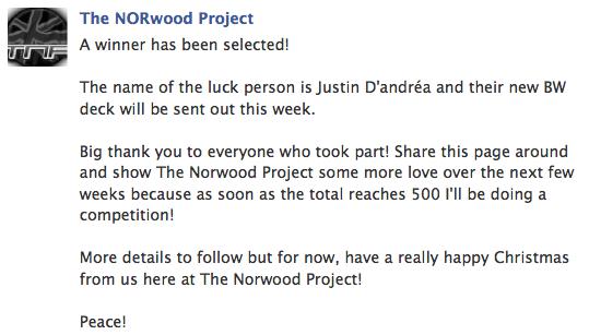 Bildschirmfoto 2012 12 26 um 08.14.32 The Norwood Project   Raffle Winner
